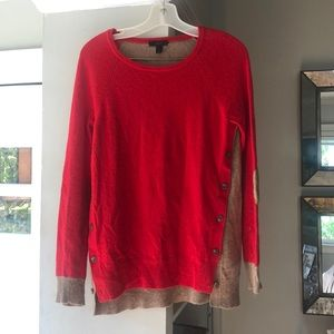 J. Crew  red and tan button sweater size small